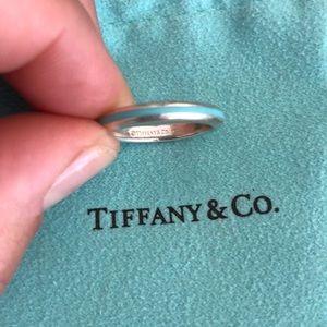 Tiffany and Co. Blue Enamel Stripe Silver Ring